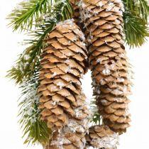 Zieleń jodłowa z szyszkami, dekoracja zimowa, gałązka jodłowa do zawieszenia, dekoracja szyszkowa śnieżna L33cm