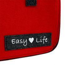 """Torba """"Easy Life"""" 39 cm x 22 cm x 25,5 cm czerwono-szara"""