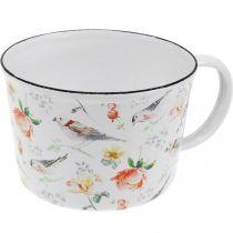 Kubek na rośliny ptaki / kwiaty, sadzarka, dekoracyjny kubek emaliowany, sadzarka