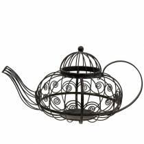 Deco Teapot Cachepot Metal Dark Brown Ø28cm H24cm