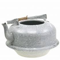 Planter Teapot Zinc Grey, White Washed Ø26cm H15cm