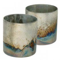 Słoik na tealight, świecznik, lampion szklany o wyglądzie antycznym Ø10cm H10,5cm 2szt.
