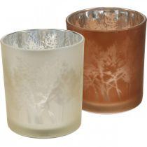 Szklany lampion, słoik na tealight z motywem liści, dekoracja jesienna Ø8cm H9cm 2szt.