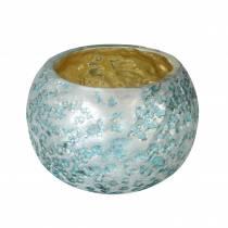 Latarnia ze szkła srebrnego szaroniebieskiego Ø8,5cm W6cm