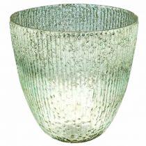 Świeca Szklana Lampion Niebieski Zielony Dekoracja Stołu Szkło Ø21cm H21,5cm