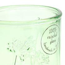 Deco Lampion szklany zielony/żółty Ø9cm H9cm 6szt.
