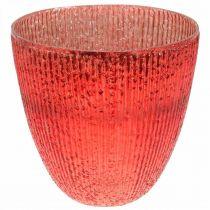 Świeczka Szklany Lampion Czerwony Szklany Deco Wazon Ø21cm H21,5cm