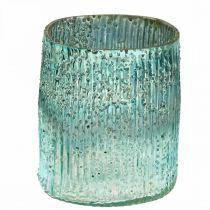 Tealight Jar Blue Wind Light Glass Table Decoration 12cm