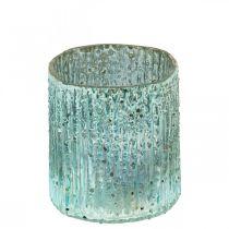 Tealight Jar Blue Wind Light Glass Candle Decoration 8cm