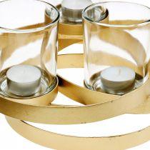 Świecznik adwentowy metalowy okrągły złoty z 4 kieliszkami 34×26×18cm