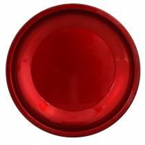 Metalowy talerz dekoracyjny czerwony z efektem glazury Ø23cm
