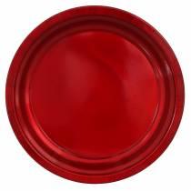 Metalowy talerz dekoracyjny czerwony z efektem glazury Ø38cm