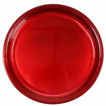 Metalowy talerz dekoracyjny czerwony z efektem glazury Ø50cm