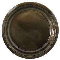 Ozdobna metalowa płytka w kolorze brązu z efektem glazury Ø30cm