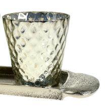 Talerz do dekoracji stołu z 3 kieliszkami tea light srebrny Ø7cm H8cm