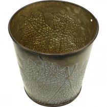 Jesienna doniczka, Metalowa doniczka z dekorem liści, Cachepot Golden Ø10cm H10cm