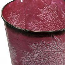Dekoracyjna doniczka do sadzenia, blaszane wiaderko, Metal Deco z wzorem liści Wine Red Ø14cm H12,5cm