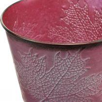 Doniczka z liśćmi dekoracja, jesień dekoracja, Metalowa doniczka Wine Red Ø16,5cm H14,5cm