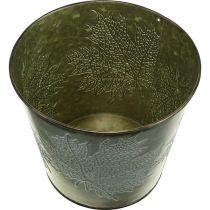 Wiadro Deco z dekorem liści, Jesienna donica, Metal Deco Green Ø17cm H14,5cm