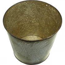 Wiaderko na jesień, blaszane wiaderko z dekoracją z liści, metalowe naczynie złote Ø14cm H12,5cm