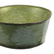 Podstawka z liśćmi klonu, jesienna dekoracja, metalowa doniczka zielona Ø25cm H11cm