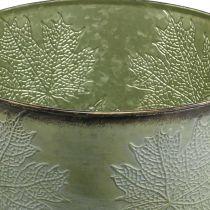 Doniczka metalowa z liśćmi klonu, dekoracja jesienna zielona Ø25,5cm H22cm