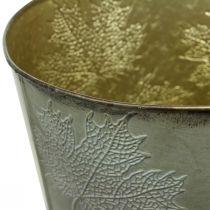 Doniczka na rośliny, jesienna dekoracja, metalowy pojemnik z liśćmi złoty Ø25,5cm H22cm