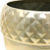 Cachepot Ceramic Acorn Golden Christmas Decoration Ø18cm H16,5cm