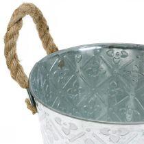Metalowa doniczka, doniczka z kwiatowym wzorem, dekoracyjna misa srebrna Ø16,5cm