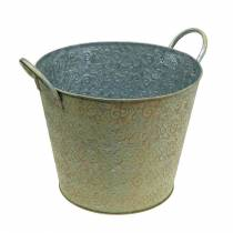 Wiadro zielone z uchwytami Ø26cm Vintage Look Planter Metal Rust