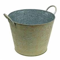 Wiadro zielone z uchwytami Ø30cm Vintage Look Planter Metal Rust