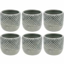 Mini doniczka, lampion ceramiczny, doniczka na rośliny, dekoracja ceramiczna z motywem koszyka Ø8,5cm 6szt.