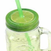 Szklanka do drinków z pokrywką i słomką różne Ø7cm H13,5cm 2szt.