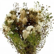 Bukiet suszonych kwiatów z trawami łąkowymi biały, zielony, brązowy 125g suszona florystyka