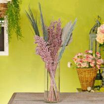 Suszone kwiaty Exotics Zestaw suszonych bukietów biało-różowych