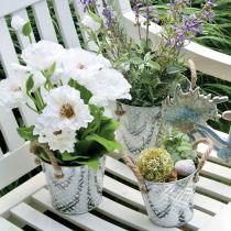Doniczka z motywem kwiatowym, metalowa doniczka do sadzenia roślin, doniczka z uchwytami Ø25,5cm