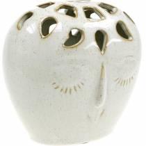 Wazon Ceramiczny z Twarzą Kremowy, Beżowy H13cm Stoneware Look 1szt.
