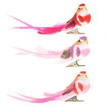 Ptaszek na klipsie różowy, różowy 15cm 12szt
