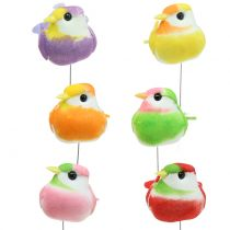 Ptaki na druciku kolorowe 8cm 12szt