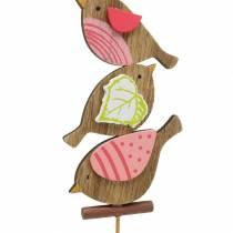 Dekoracje wiosenne ptaki z patyczków drewnianych różne H10,5cm 12szt.