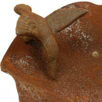 Dekoracyjna wanna dla ptaków, stacja karmienia stal nierdzewna, wanna dla ptaków antyczny wygląd Ø28cm H74cm