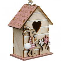 Wiszący domek dla ptaków, wiosenny, dekoracyjny domek dla ptaków z zajączkiem, dekoracja wielkanocna 4szt.
