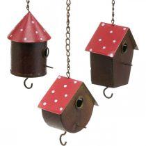 Dekoracyjna budka lęgowa, domek dla ptaków do zawieszenia, jesień, karmnik dla ptaków, metalowa dekoracja H14-12cm L34-37cm