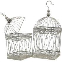 Woliera dla ptaków Vintage kwadratowa szara 21/17cm 2szt.