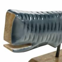 Dekoracja drewniana wieloryb z podstawką szary, natura 26cm