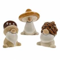 Figurka ceramiczna Zestaw Leśny Skrzat Jesienne Owoce 6 - 6,3cm Brown/Yellow 3szt.