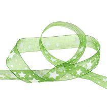 Wstążka świąteczna zielona z motywem gwiazdek 25mm 20m