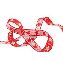 Wstążka świąteczna z gwiazdkami czerwona 15mm 20m