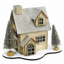 Domek świąteczny z oświetleniem LED natura, drewno brokatowe 20×17×15cm