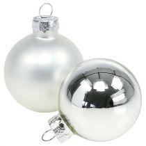 Kula świąteczna szklana Ø6cm srebrna mix 24szt.